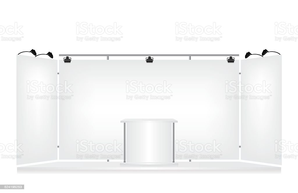 Trade exhibition stand on white background vector art illustration