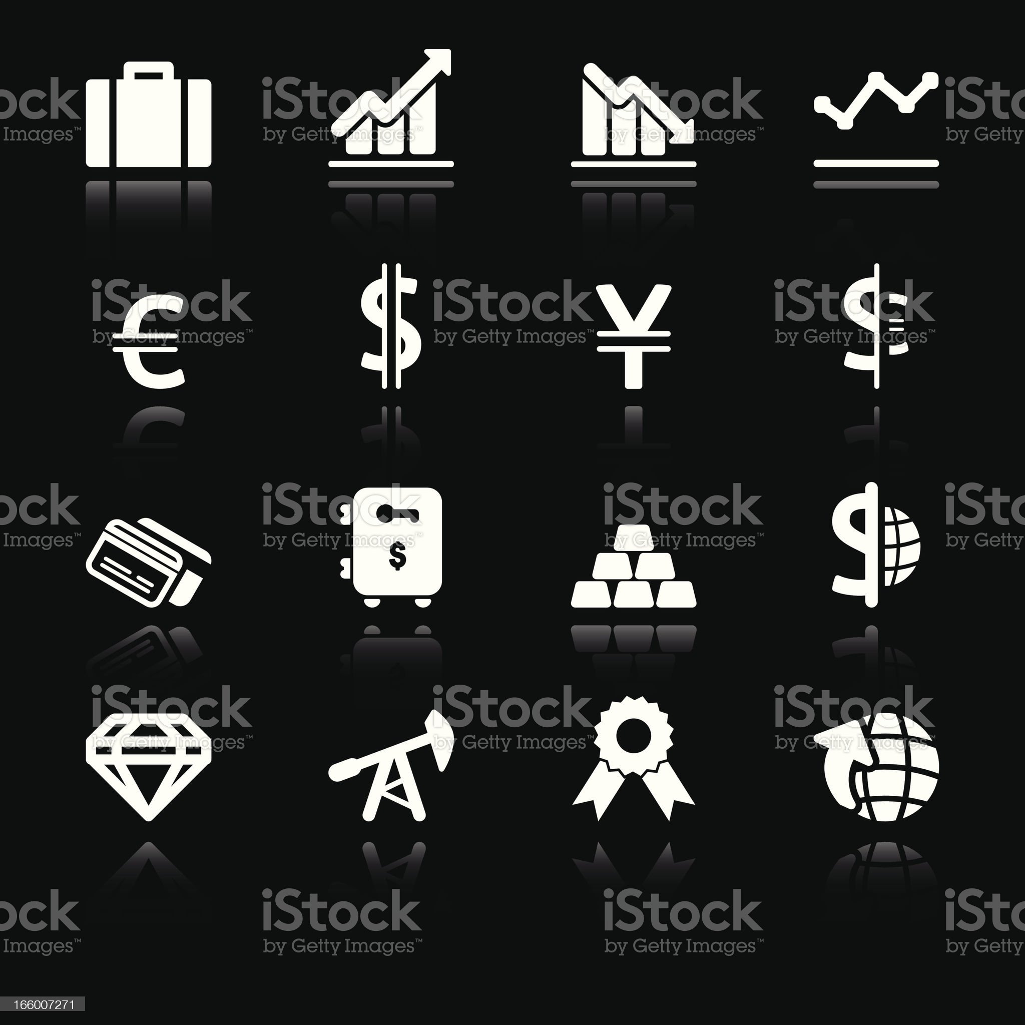 Trade & Finance Icons | Simple White royalty-free stock vector art