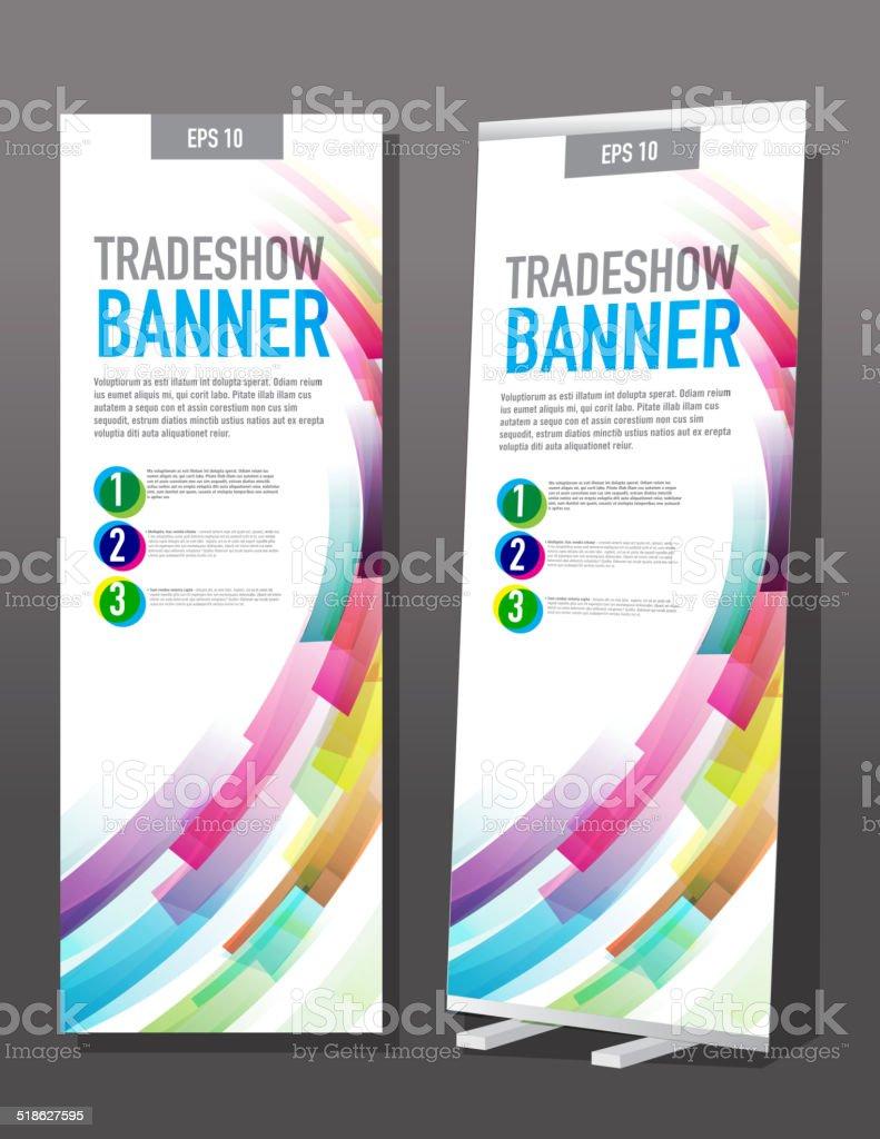 Tradeshow banner template design color swooshes vector art illustration