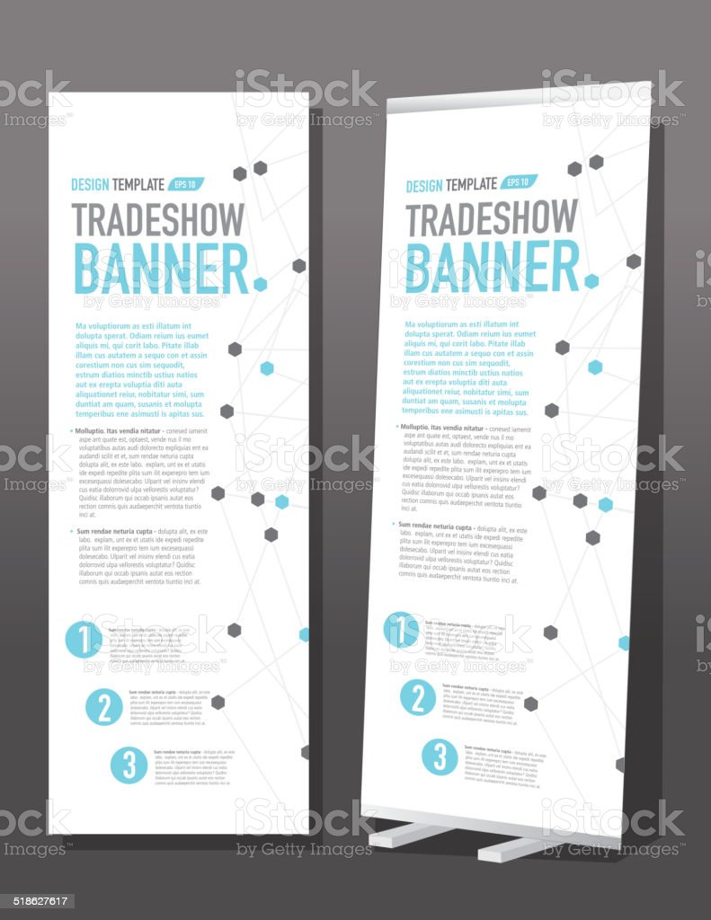Tradeshow banner template design graph and dots vector art illustration