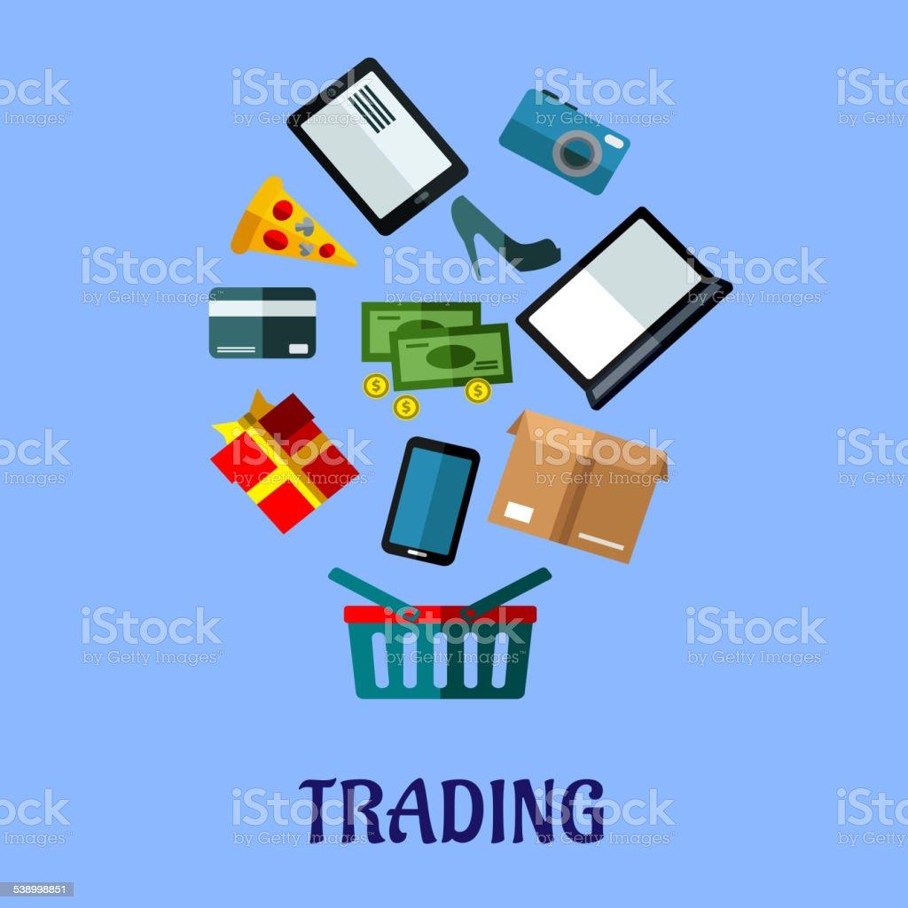 Poster design online - Trading Flat Poster Design For Online Shopping Royalty Free Stock Vector Art
