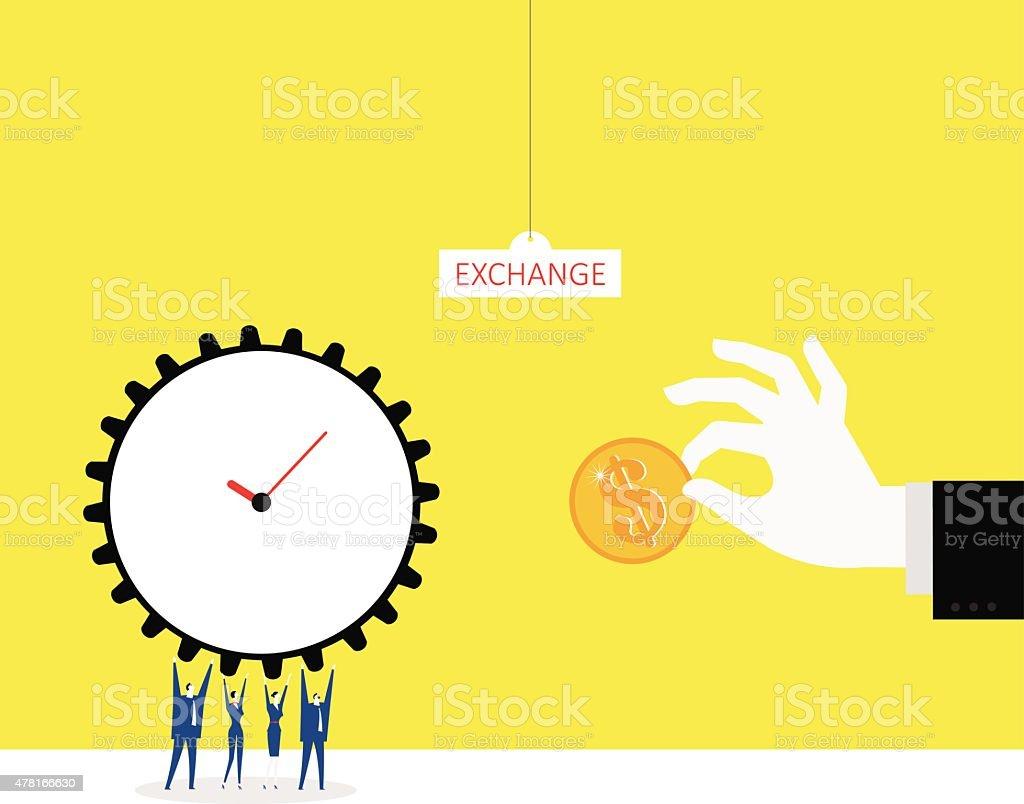 Trading time for money vector art illustration