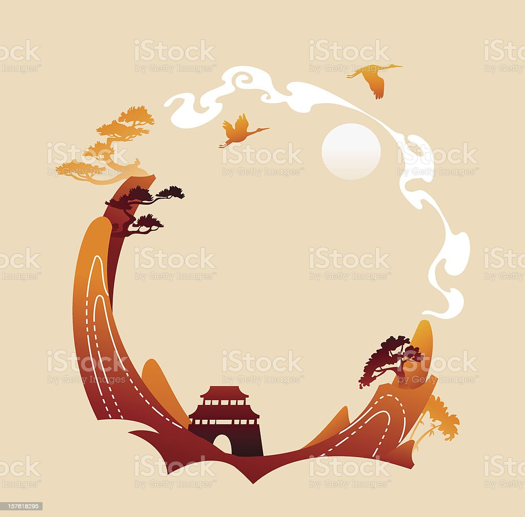 Traditional abstract asian background vector art illustration