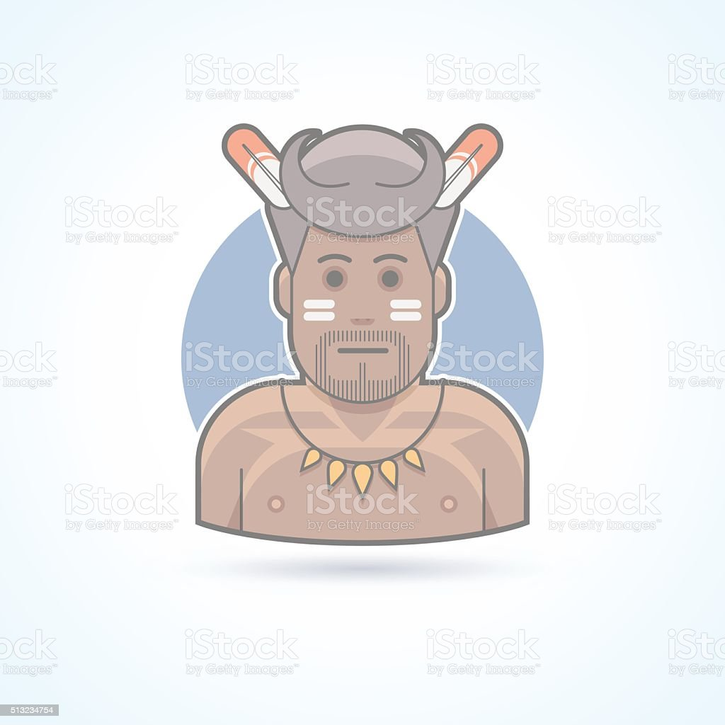 Traditional african man, papuan, wildman icon. Avatar and person illustration. vector art illustration