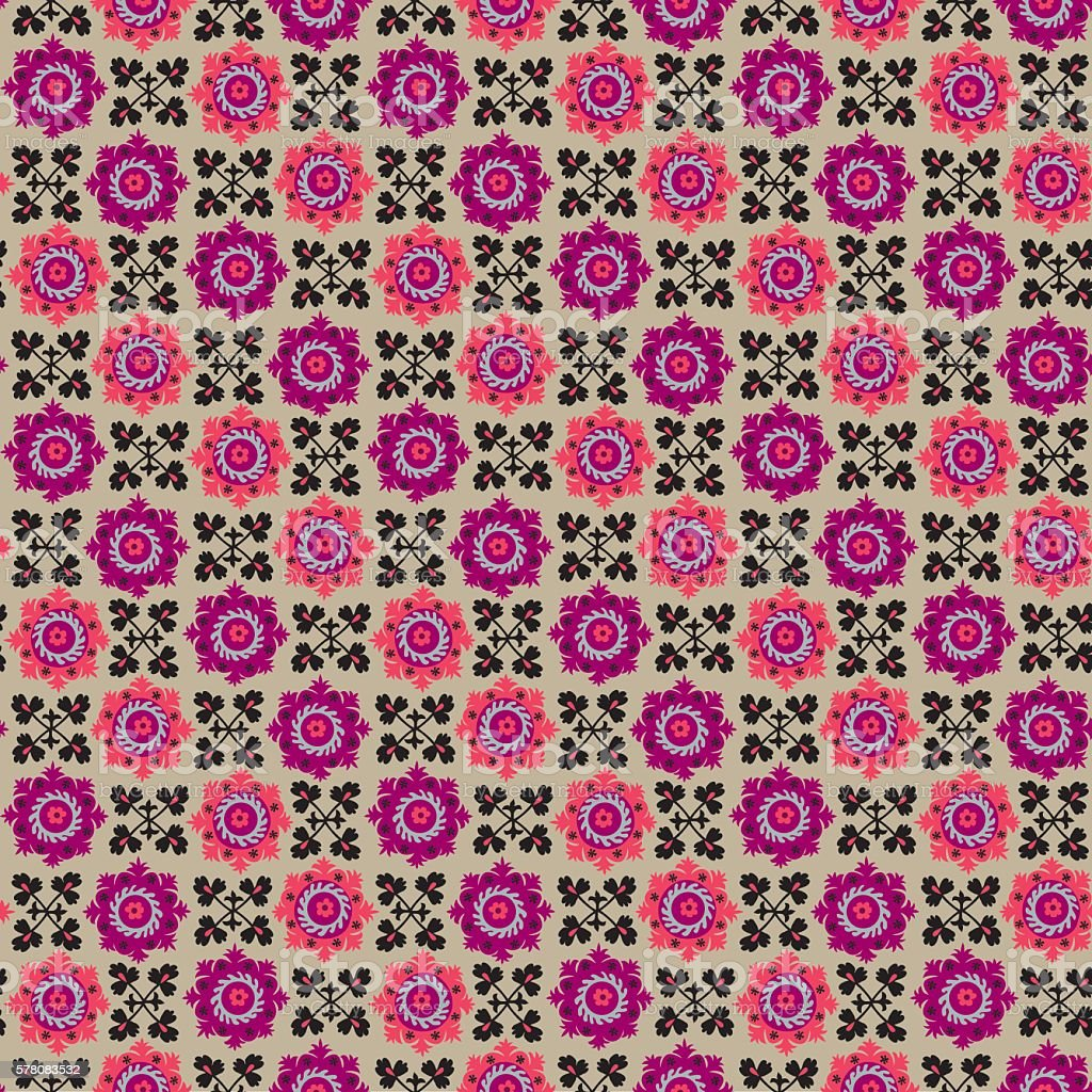 traditional asian carpet embroidery Suzanne in pink and black co vector art illustration