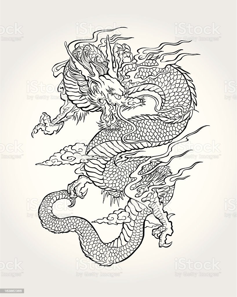 Traditional Asian Dragon vector art illustration