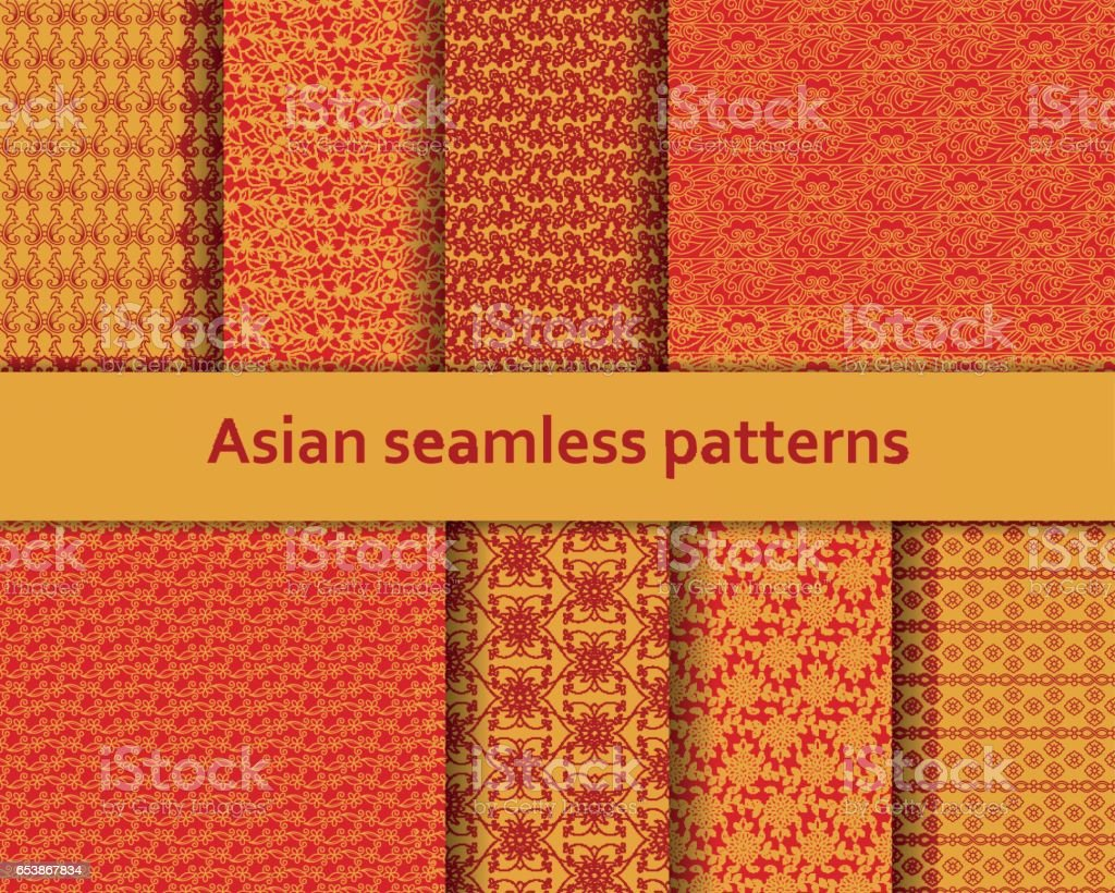 Traditional Asian seamless patterns set. Detailed decorative motifs. Red and orange colors. Vector illustration. vector art illustration