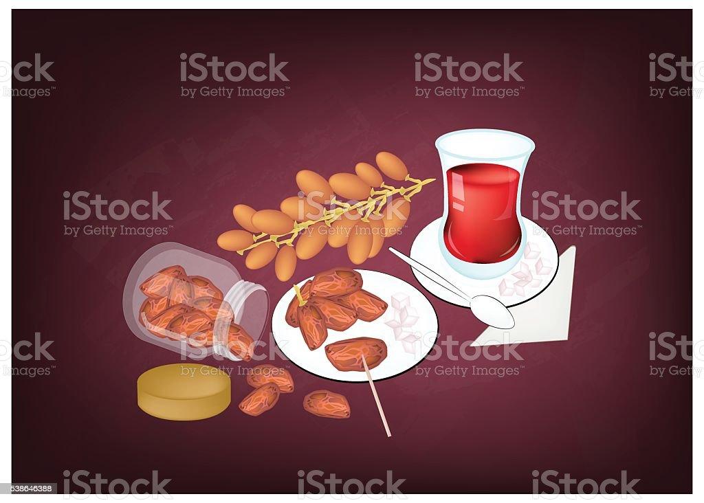 Traditional Black Hot Tea, Popular Drink in Azerbaijan vector art illustration