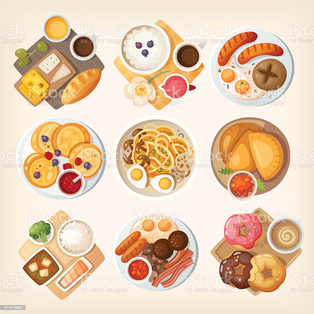 Traditional breakfasts from all over the world. vector art illustration