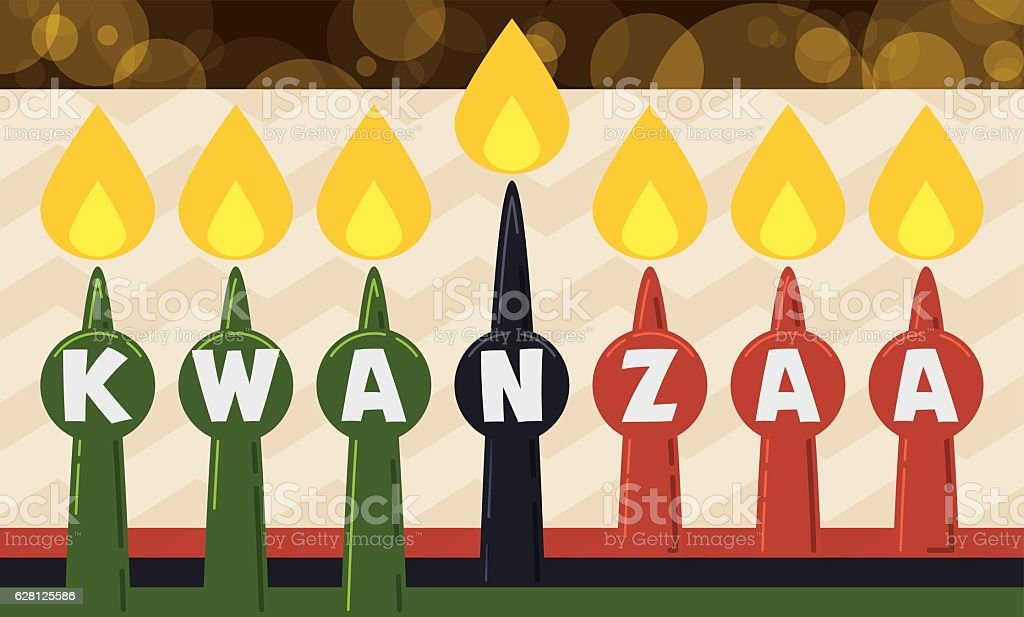 Traditional Candles for Kwanzaa Celebration in Flat Style, vector art illustration