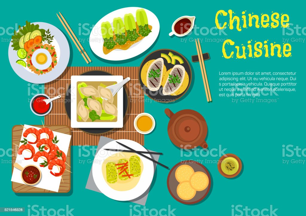 Traditional chinese dinner top view flat icon vector art illustration