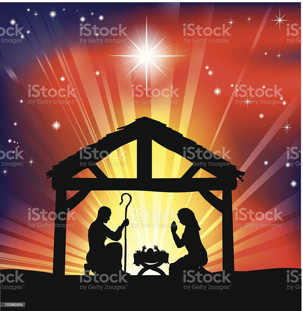 Traditional Christian Christmas Nativity Scene royalty-free stock vector art