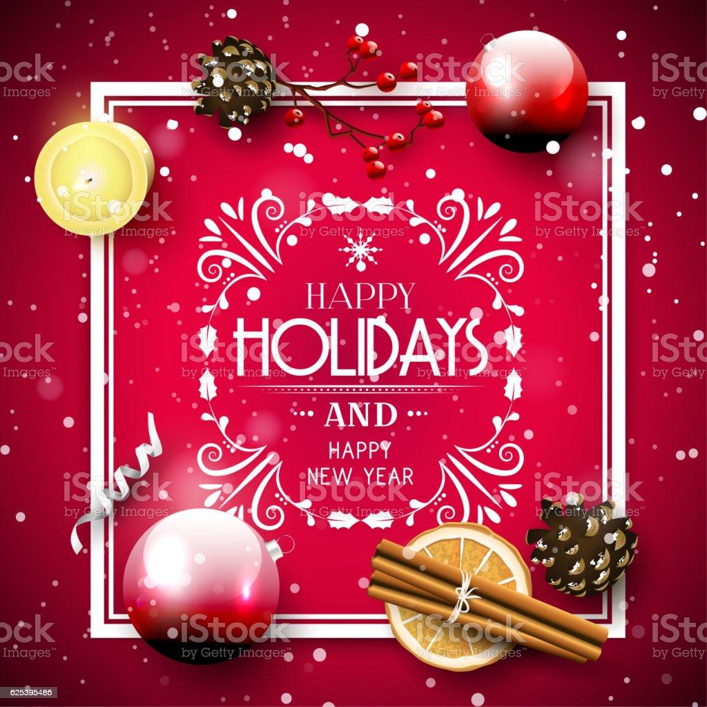 Traditional Christmas greeting card vector art illustration