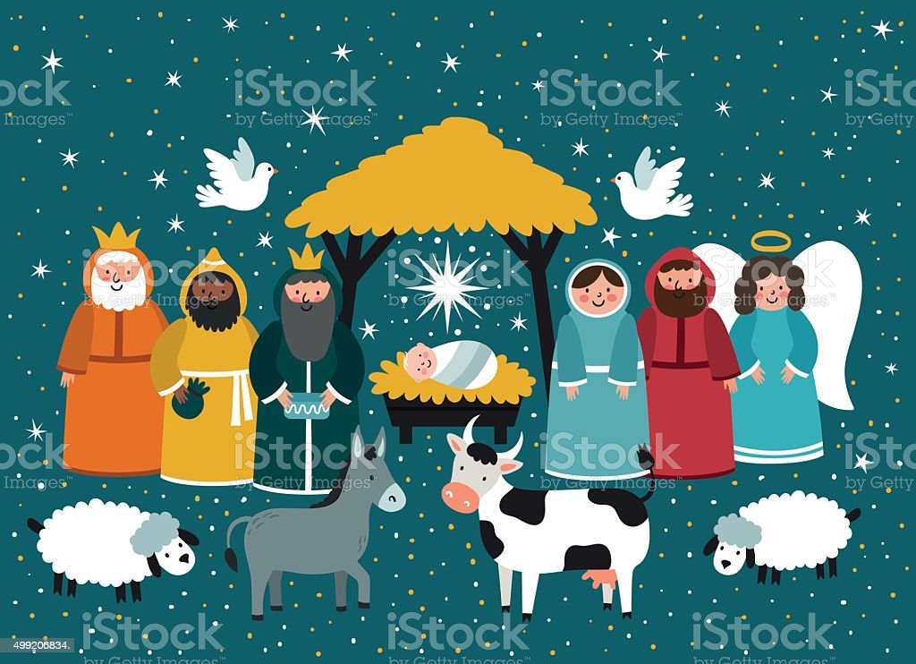 Traditional Christmas. Nativity scene. vector art illustration