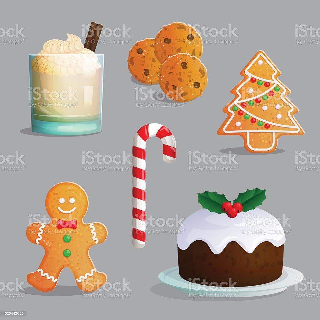 Traditional Christmas treats illustration set vector art illustration