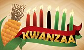 Traditional Corn, Flag and Lighted Candles for Kwanzaa Celebration