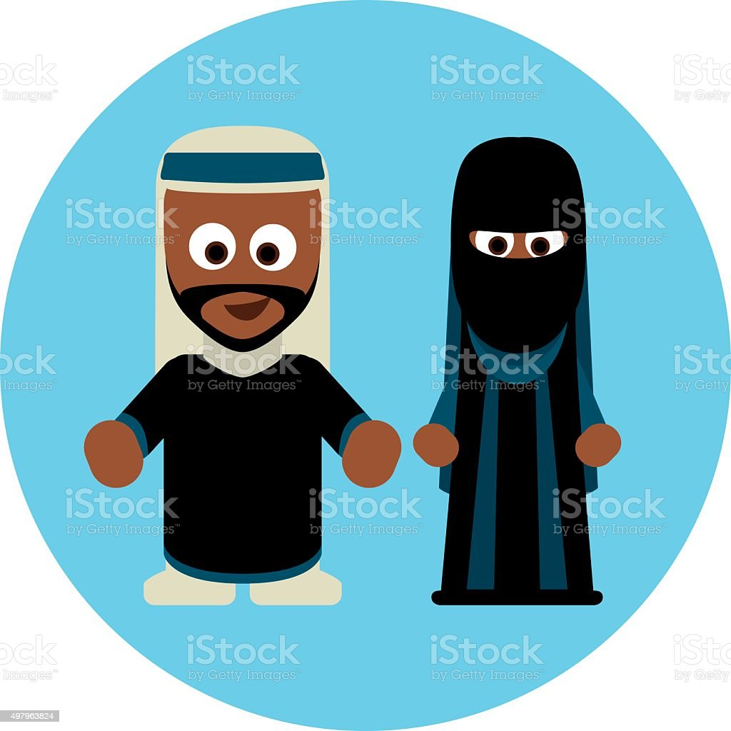 Traditional costumes icon - Arabs vector art illustration