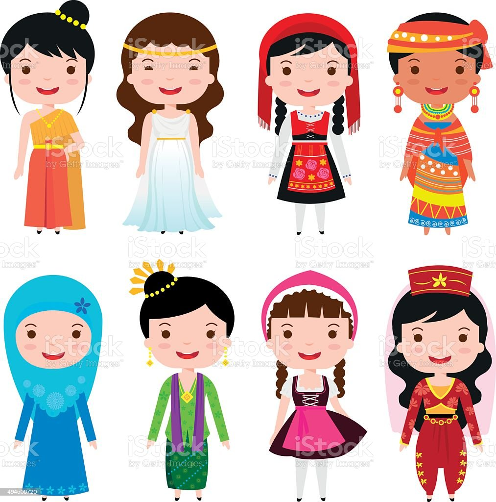 traditional costumes of the world vector art illustration