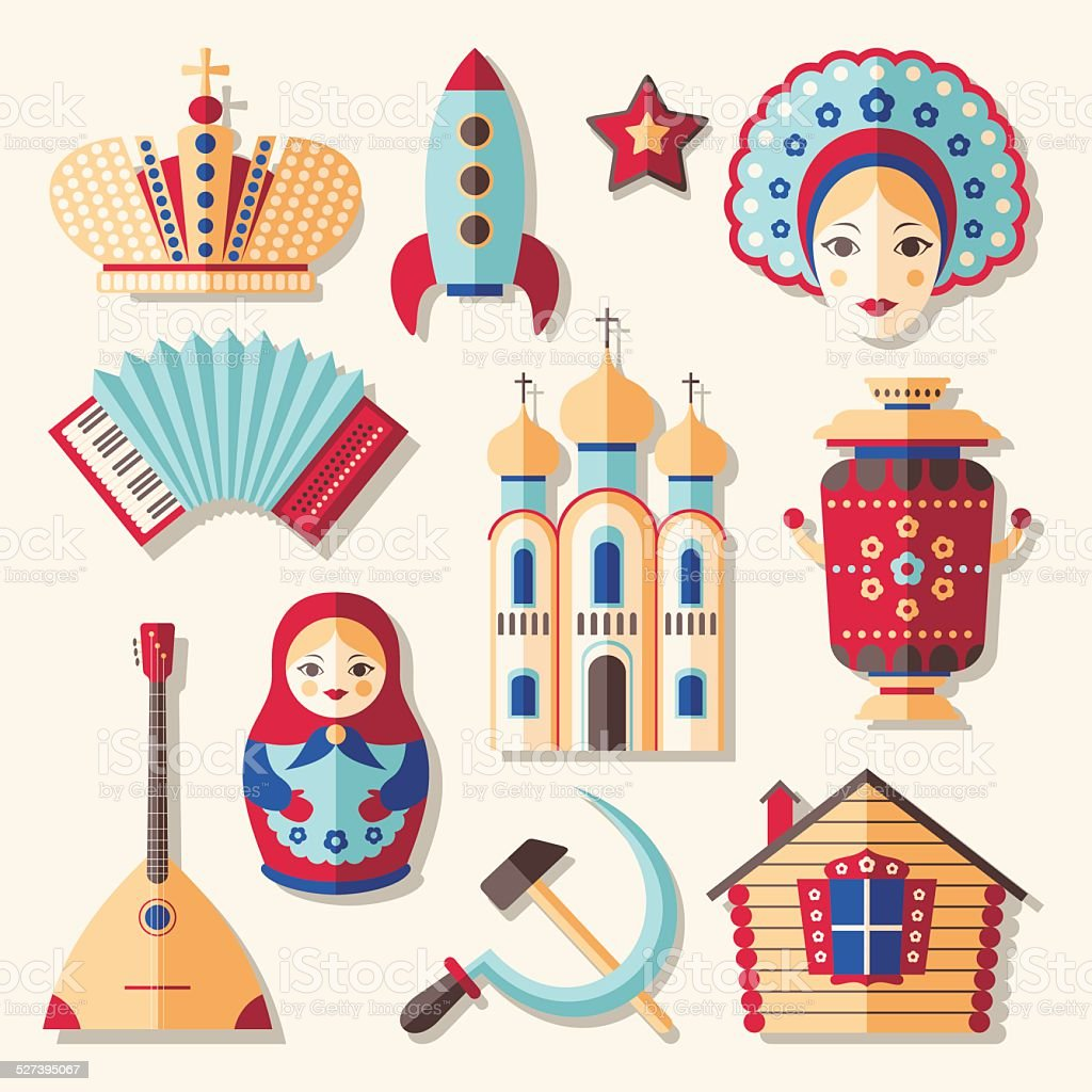 Traditional culture russian icons vector art illustration