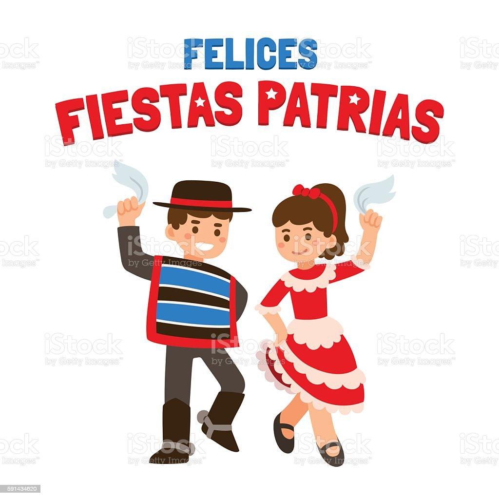 Traditional dancing children vector art illustration