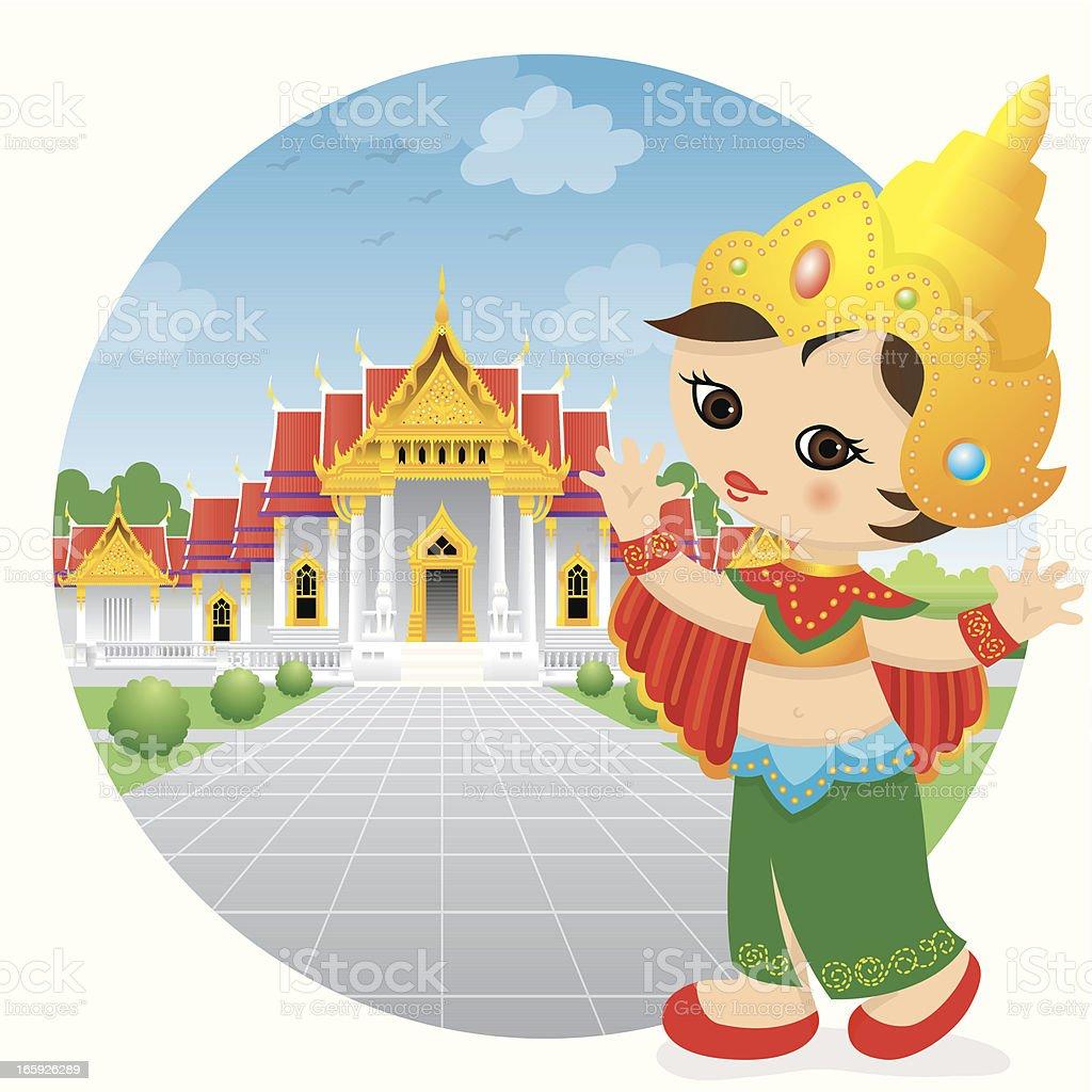 Traditional dancing Thailand girl royalty-free stock vector art