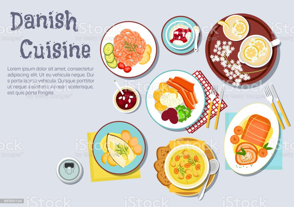 Traditional danish Christmas dinner flat icon vector art illustration
