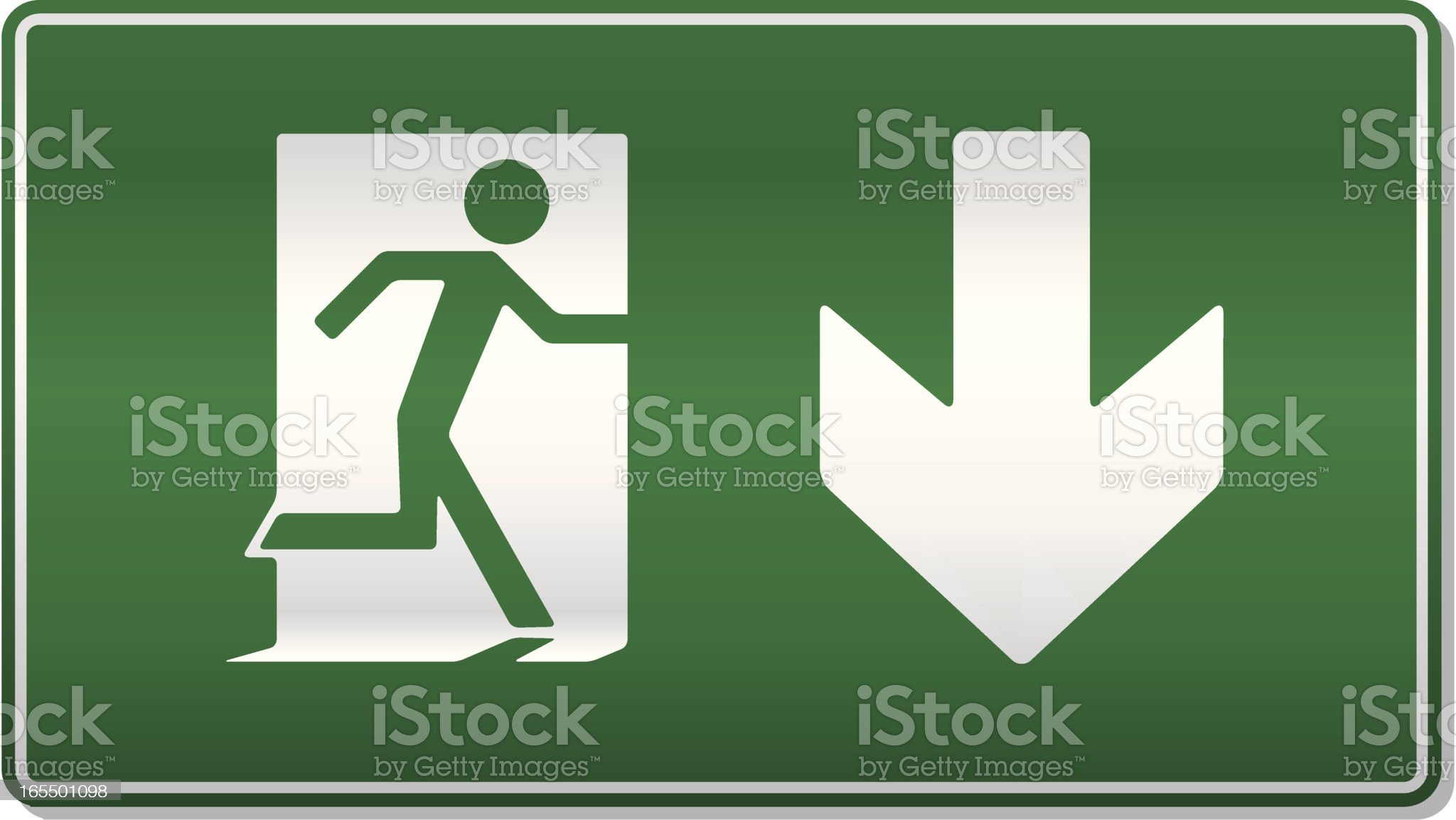 Traditional emergency exit sign royalty-free stock vector art