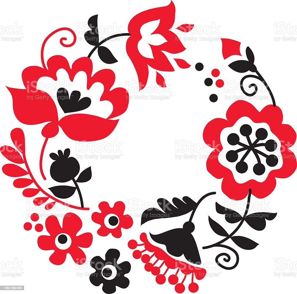 traditional european ukrainian ornament. rustic floral compositi vector art illustration