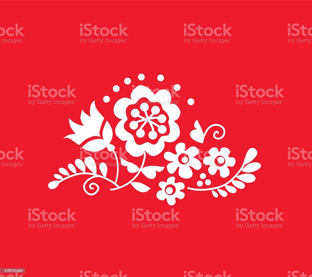 traditional european ukrainian ornament. rustic floral wedding c vector art illustration