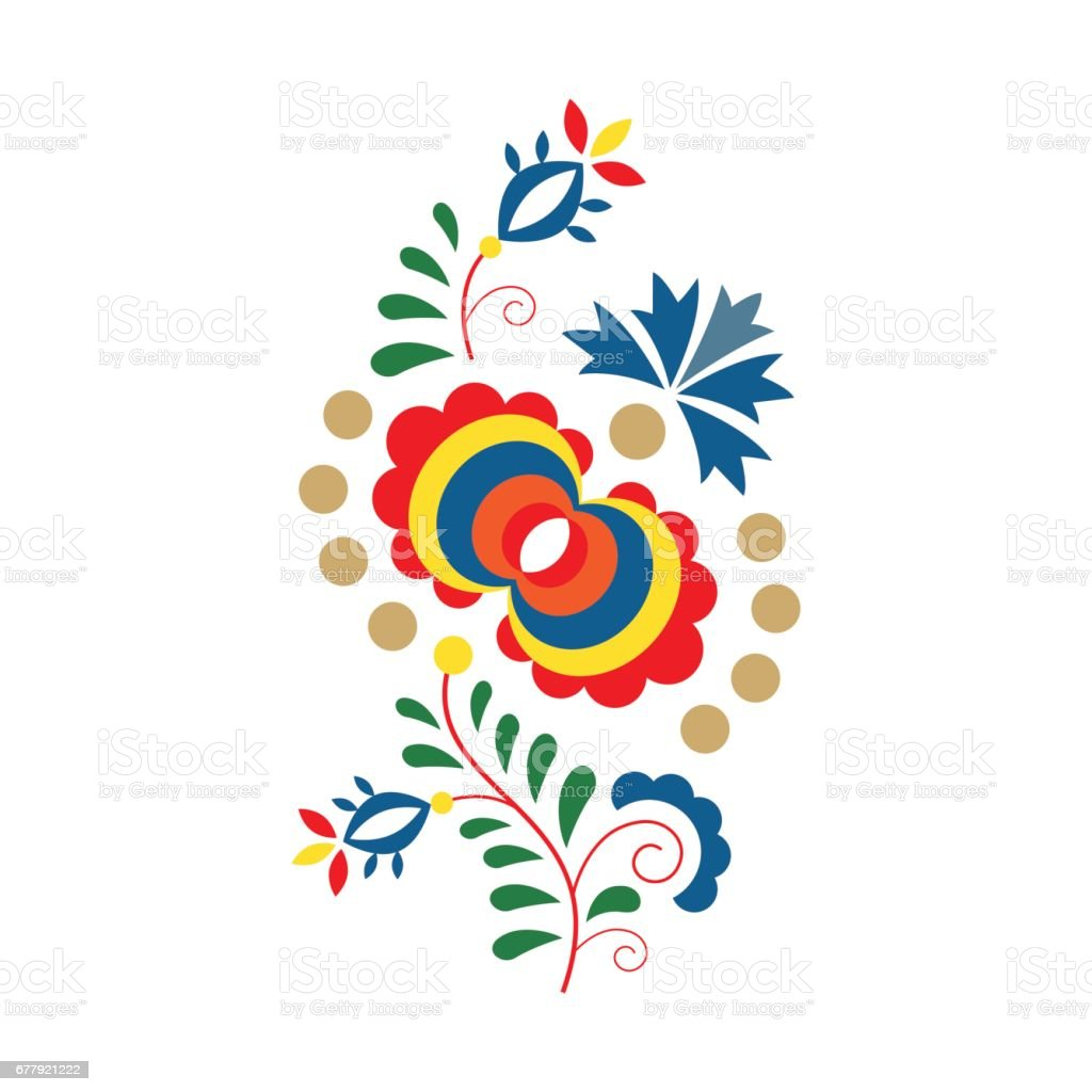 Traditional folk ornament and pattern, floral embroidery symbol isolated on white background, vector illustration vector art illustration