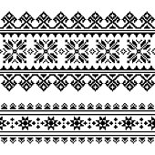 Traditional folk Ukrainian embroidery pattern in black and white