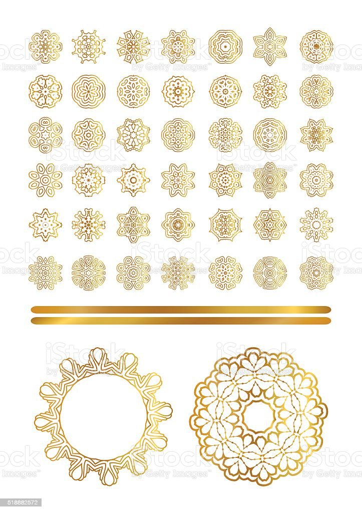 Traditional golden decor vector art illustration