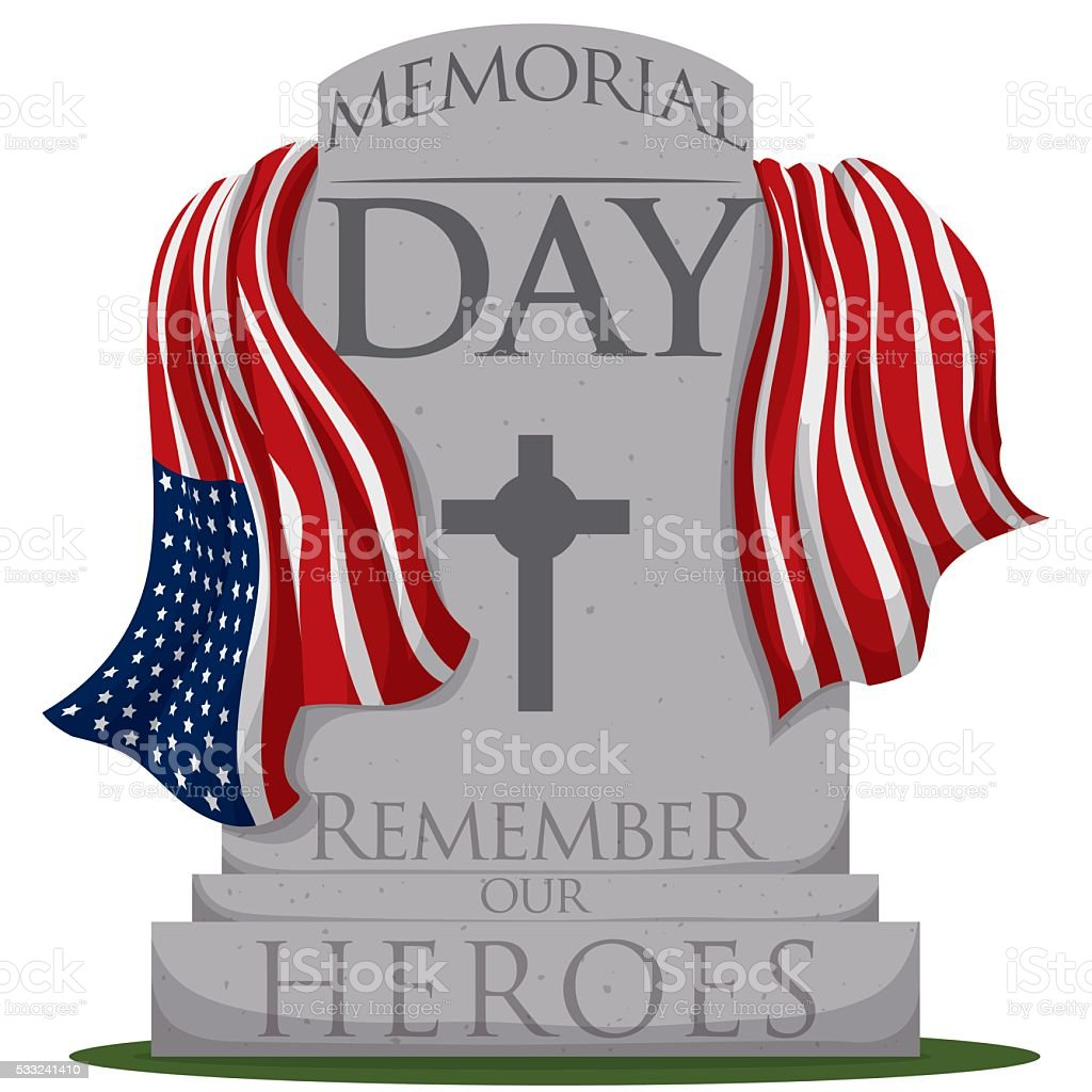 Traditional Gravestone with Flag for Memorial Day vector art illustration