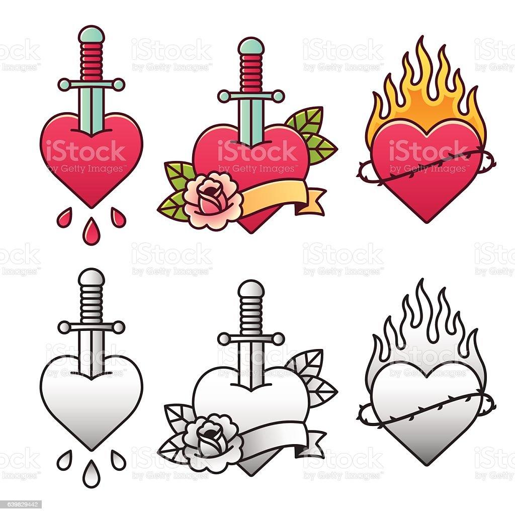 Traditional heart tattoo set vector art illustration