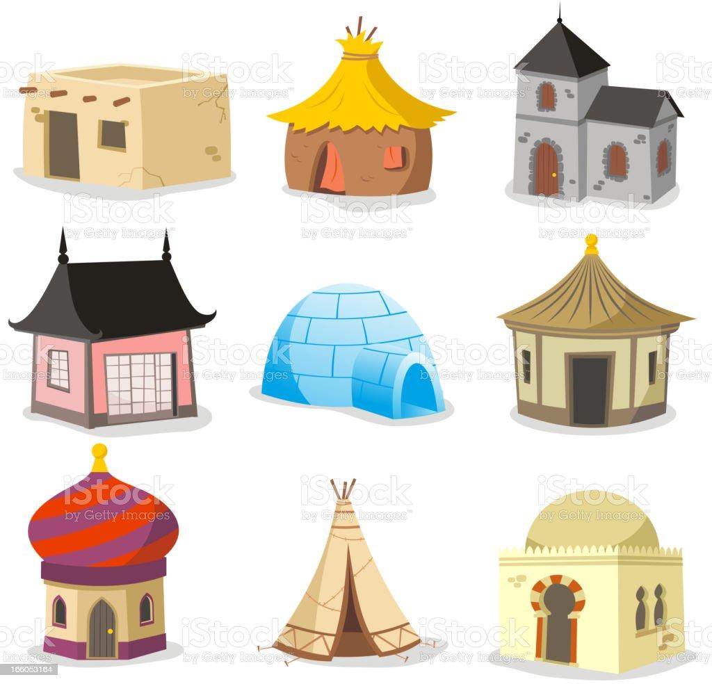 Traditional houses House Igloo Hut Shack Slum Cabinet Cottage Cabin vector art illustration