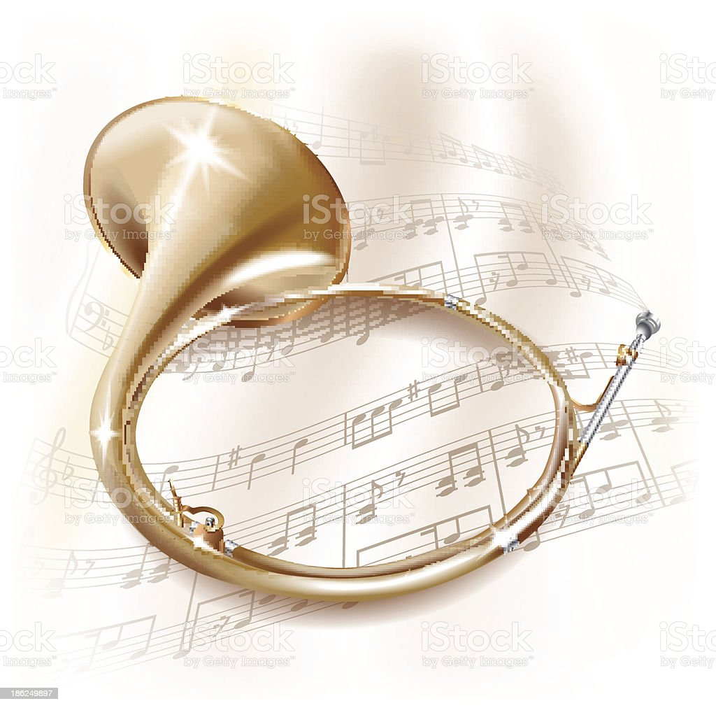 Traditional hunting horn on white background with musical notes vector art illustration