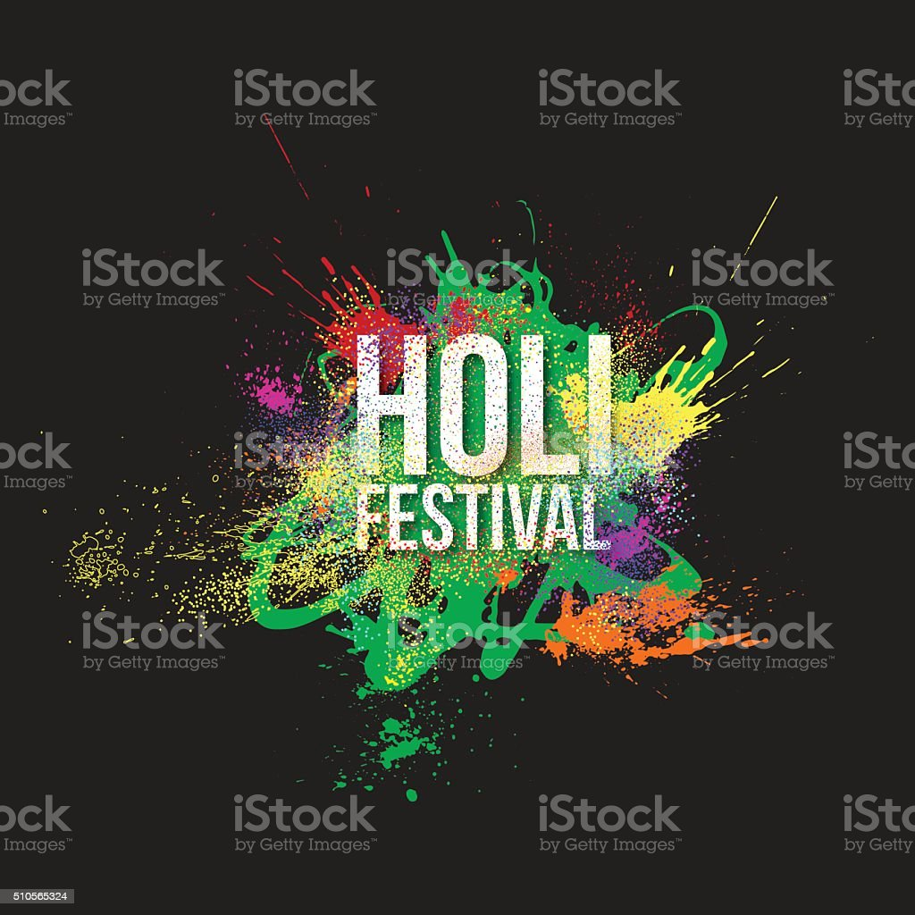 Traditional indian holiday. Colorful Holi festival background vector art illustration