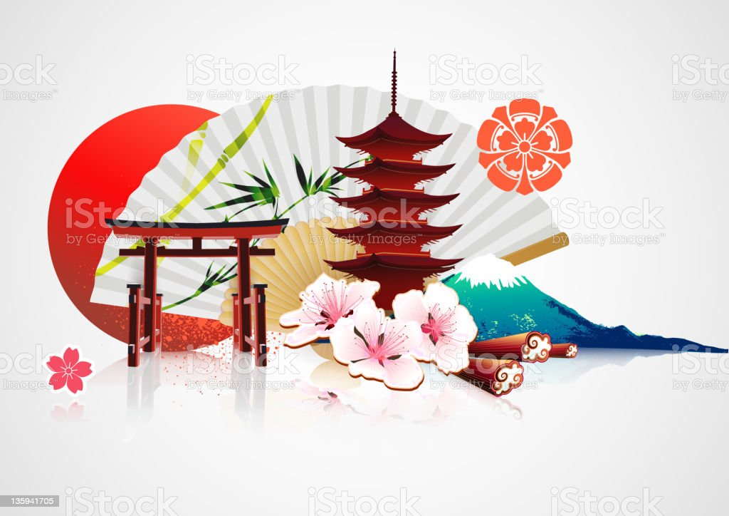 Traditional Japanese background vector art illustration