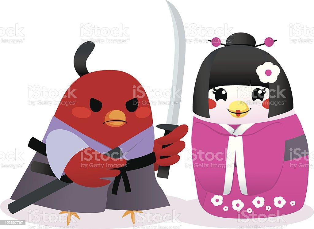 Traditional Japanese Birds royalty-free stock vector art