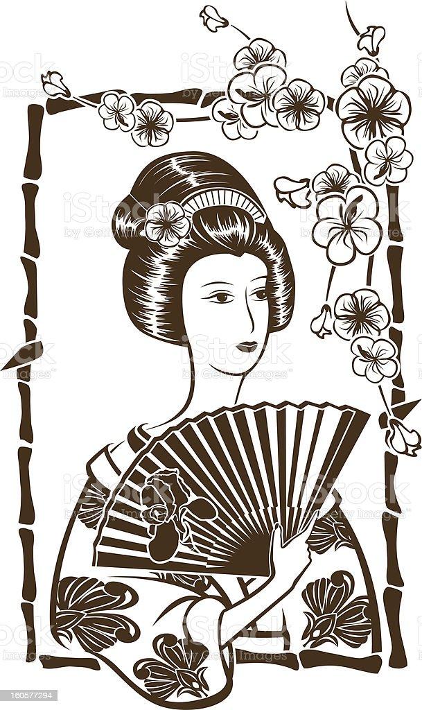 Traditional Japanese Geisha vector art illustration