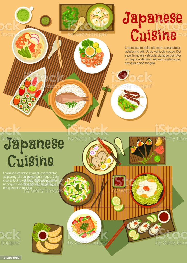 Traditional japanese seafood dishes flat icon vector art illustration