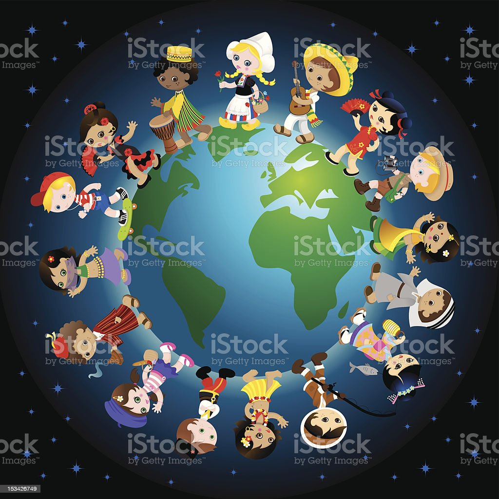 Traditional kids around the world royalty-free stock vector art