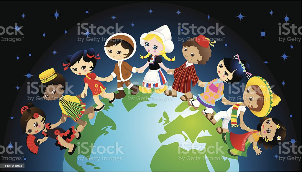 Traditional kids holding hands around world royalty-free stock vector art