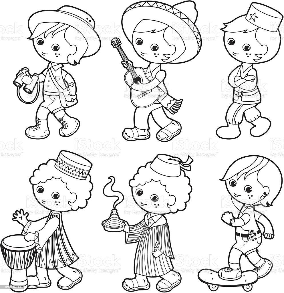 traditionnelle garçon ensemble de coloriage de jeux pour enfants