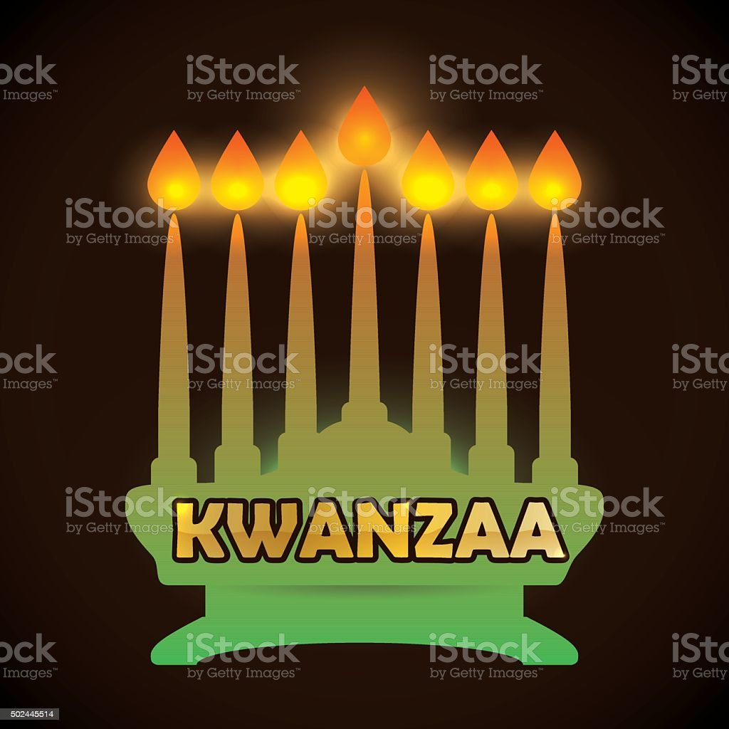 Traditional Kinara with all Candles Lighted. vector art illustration