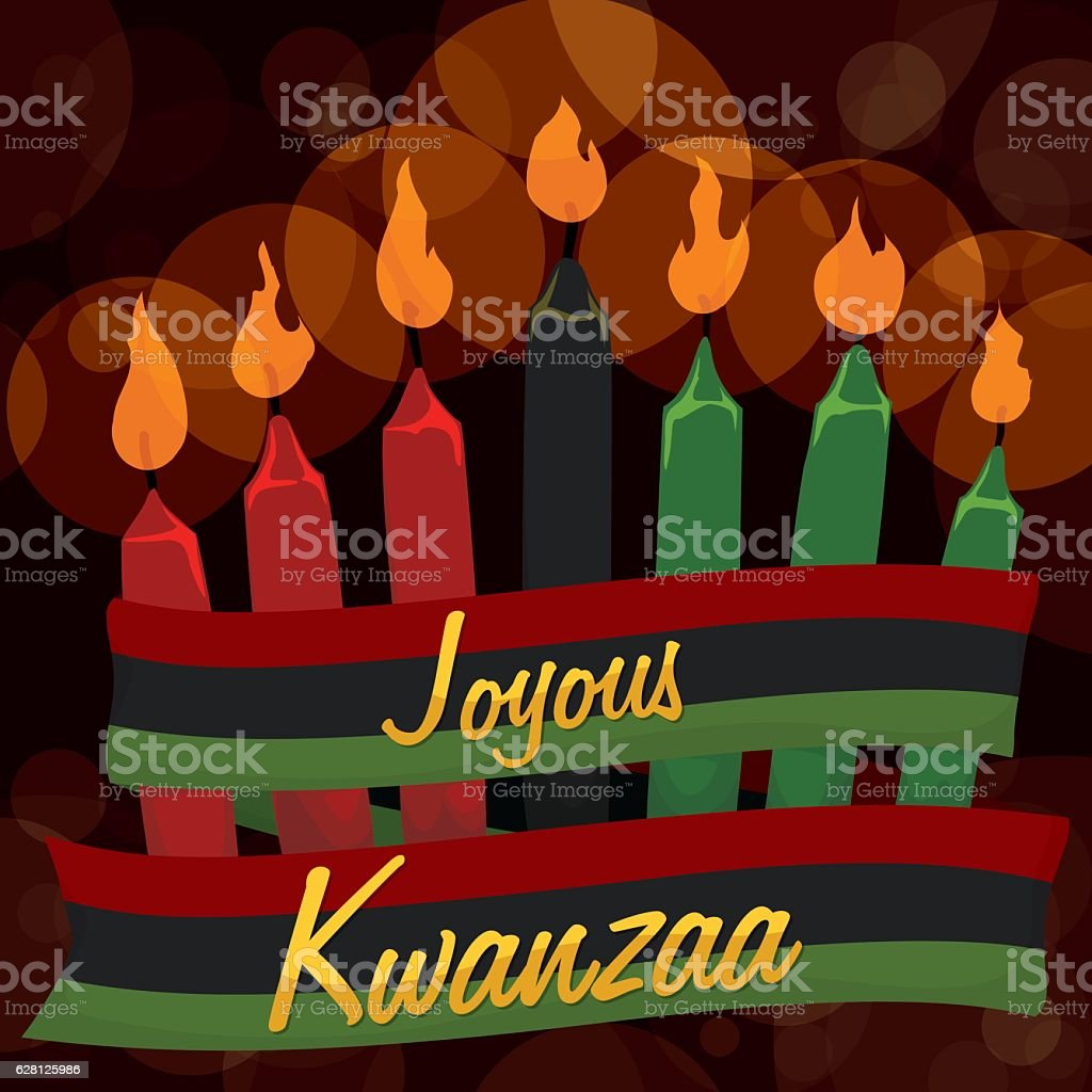 Traditional Kwanzaa Candles with Ribbon and Bokeh Background vector art illustration