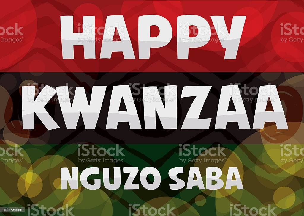 Traditional Kwanzaa Flag with Glowing Bubbles. vector art illustration
