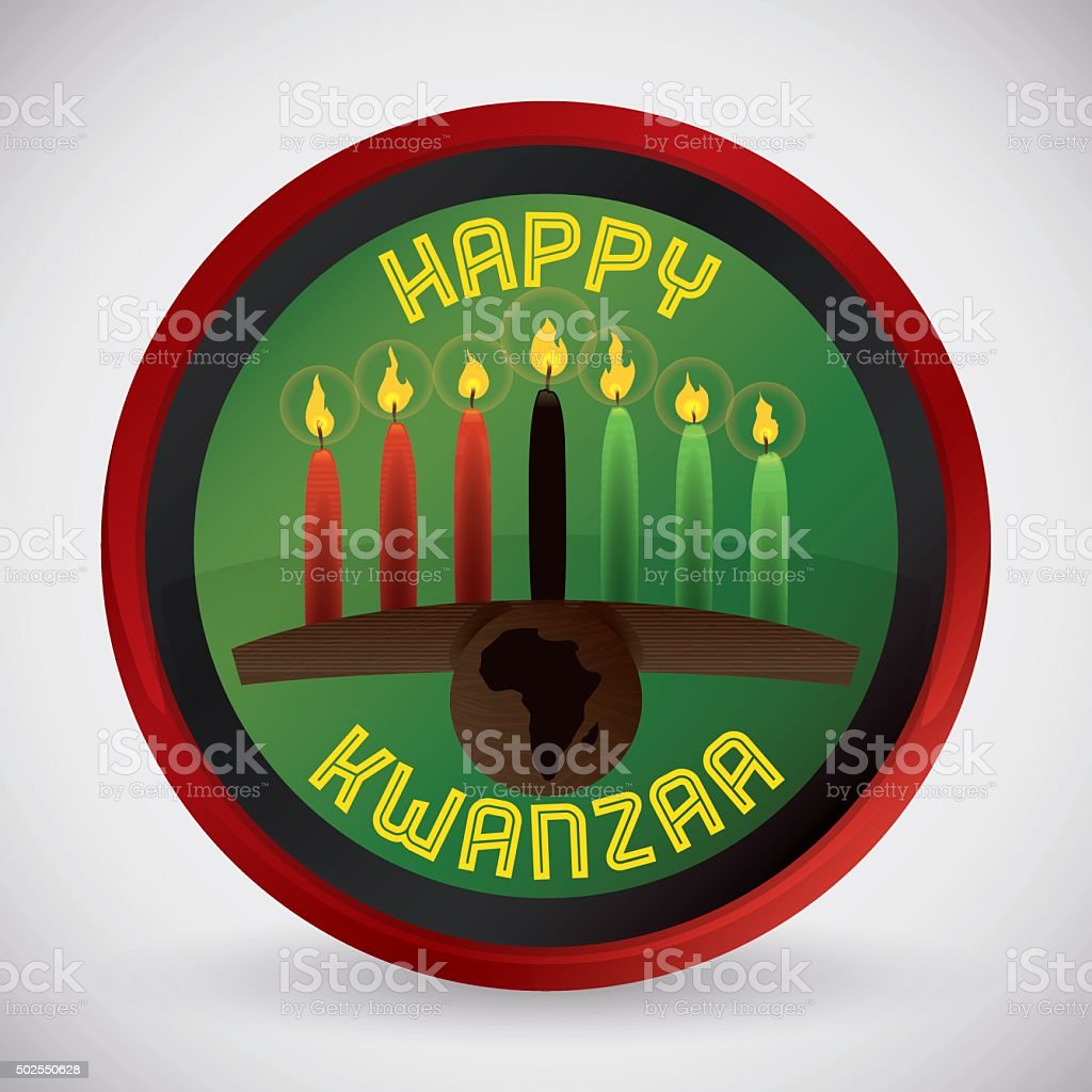 Traditional Kwanzaa Kinara with Candles in Button vector art illustration