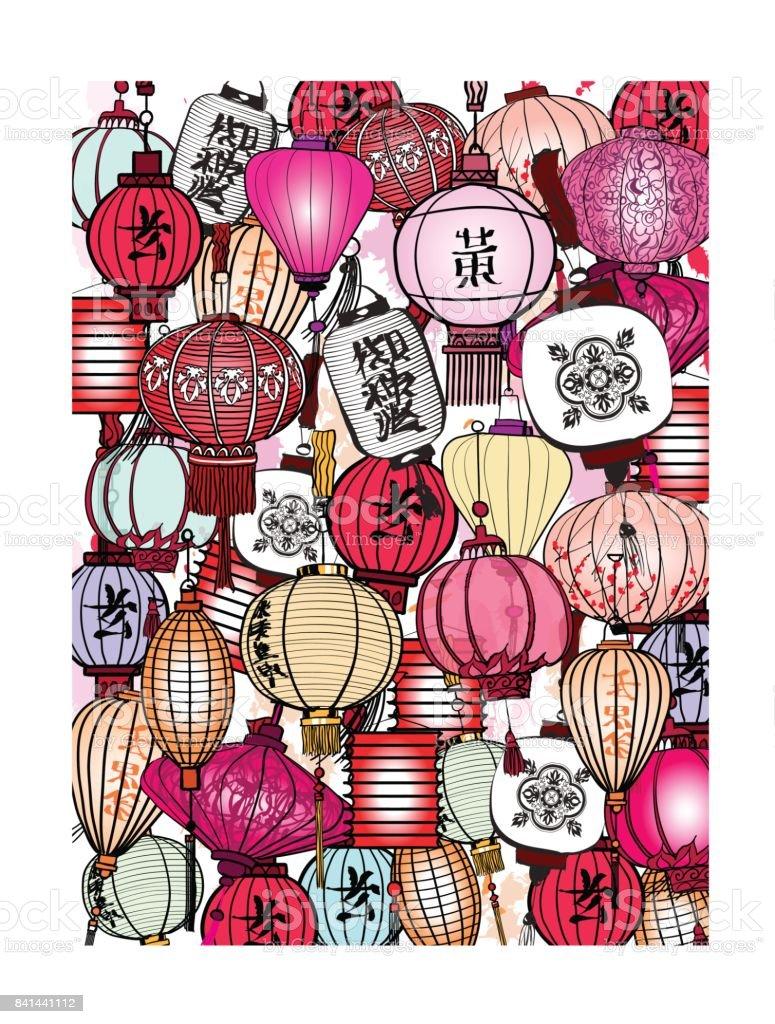 Traditional lanterns in Vietnam vector art illustration
