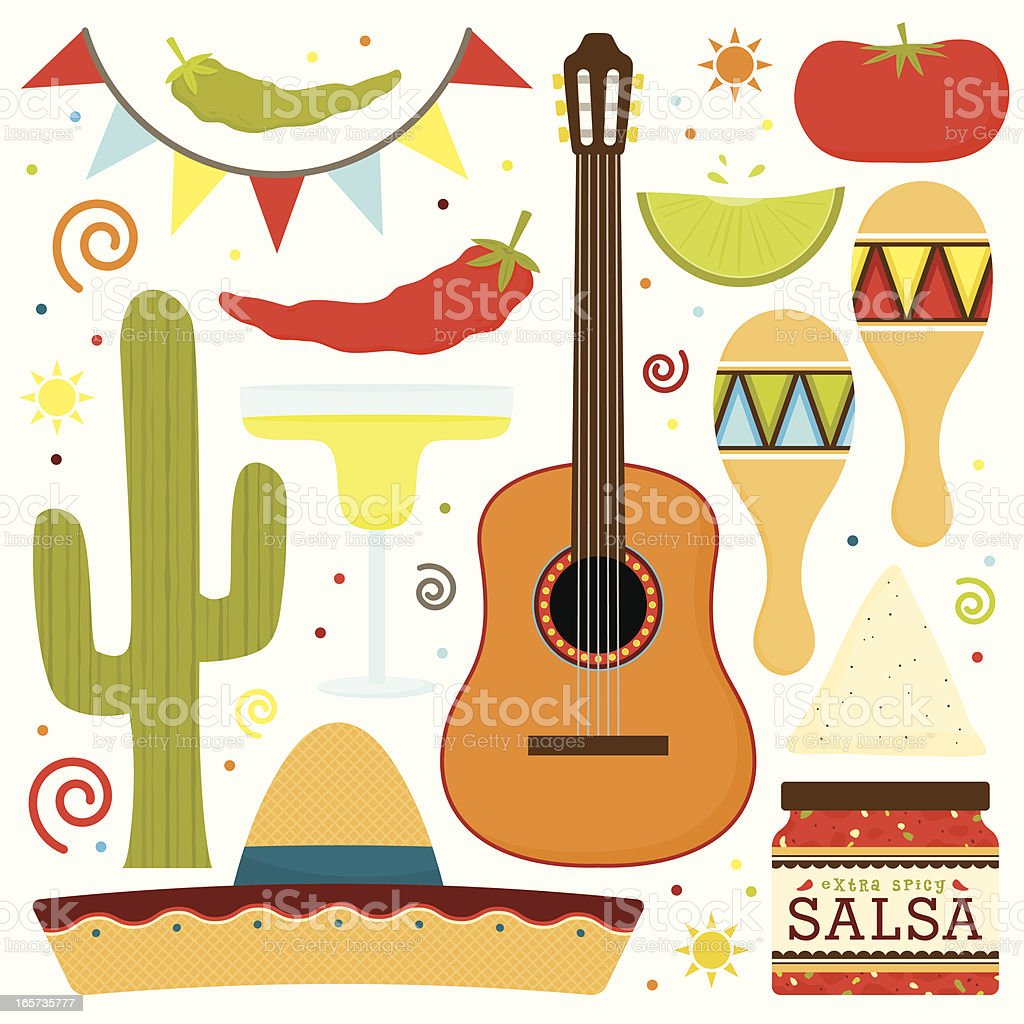 Traditional Mexican Fiesta vector art illustration